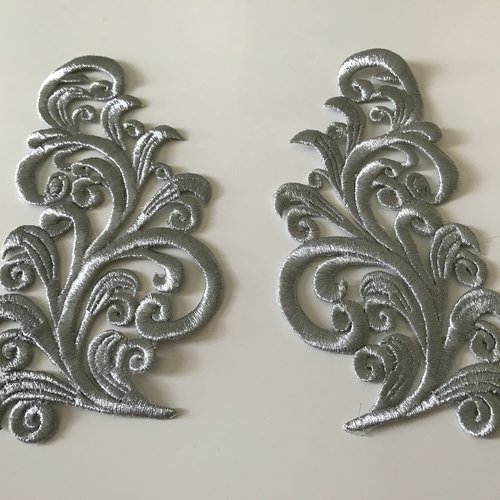 Broderie argente avec fil métallisé très haute qualité
