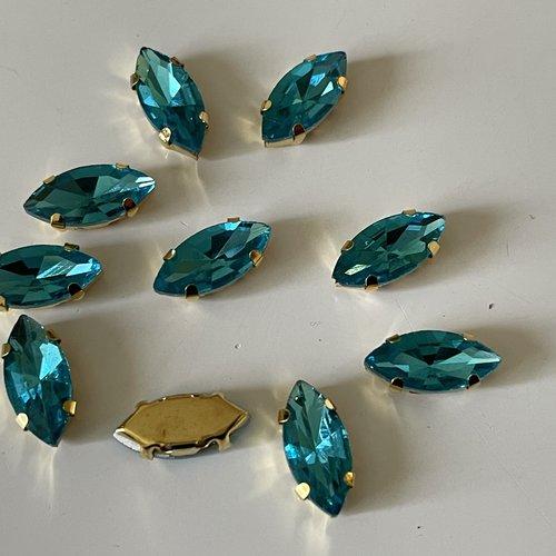 Strass sertie en cristal bleu turquoise socle doré 6*12 mm