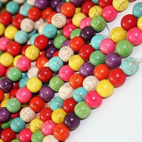 20 perle 6mm Naturel Pierre Turquoise Mixte creation bijoux collier bracelet