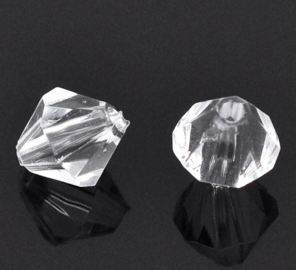 20 Perles Transparent Intercalaires Bicone toupie Acrylique 8mm x 8mm Creation bijoux, Collier, Bracelet
