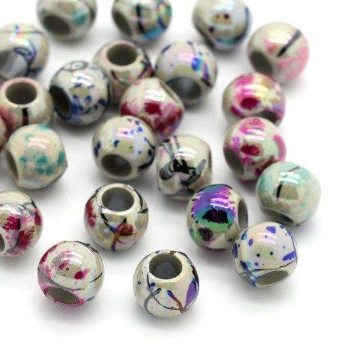 20 Perles en Resine Rayé 8mm Jaune et Blanc Creation bijoux