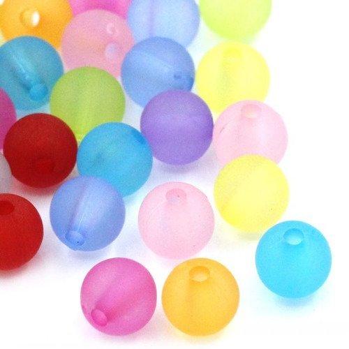 30 perles couleur mixte mat 6mm  en resine 6 mm perle bracelet creation bijoux