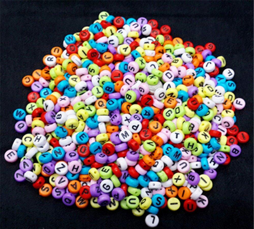 Perle acrylique alphabétique de 10 x 10 mm Lettre W Lot de 10 perles Blanc