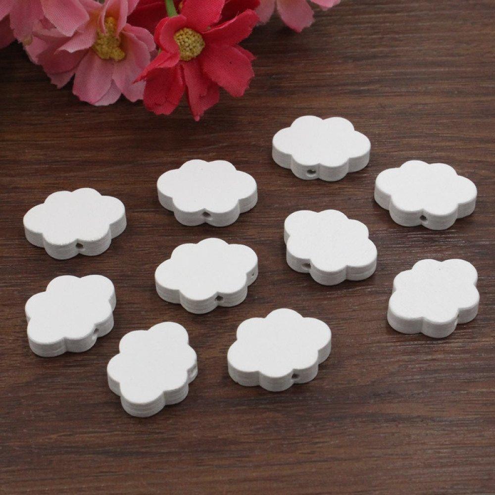 10 Perles en Bois Blanc Nuage 22mm x 17mm Creation Attache tetine, bijoux...
