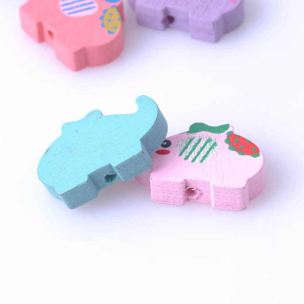 5 Perles en Bois Mixte Elephant 22mm x 15mm Creation Attache Tetine, bijoux