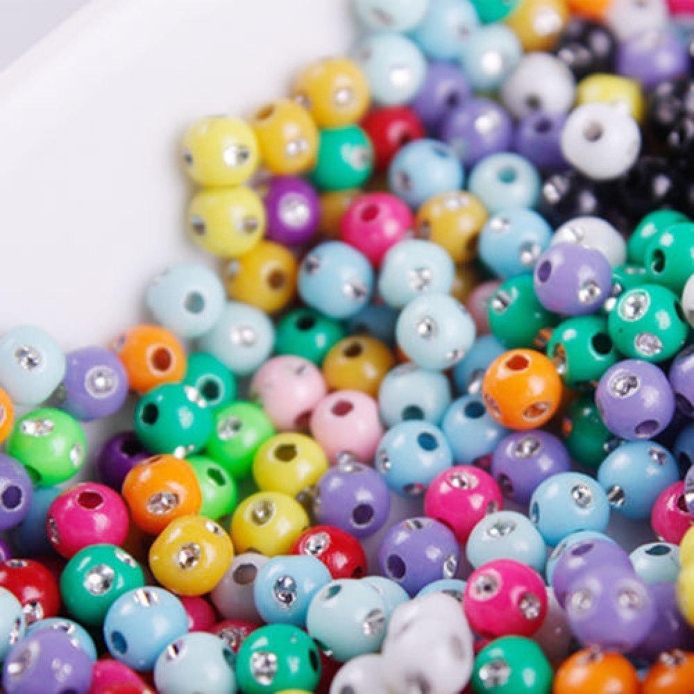 50 Perle Mix Point Argentées 6mm couleur Mixte argentes création bijoux, bracelet, colier