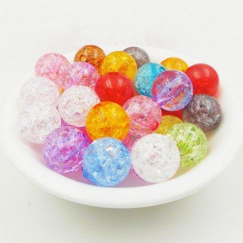 20 perles en acrylique imitation verre craquelé 8mm couleur mixte creation bijoux, collier, bracelet