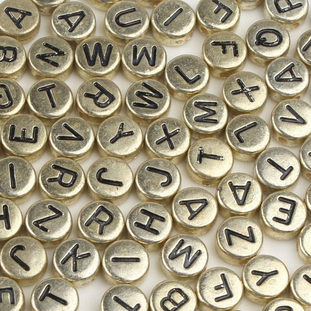 Perles Alphabet Noir Ronde 7mm x 4mm Acrylique Lettre Aléatoire Creation bijoux
