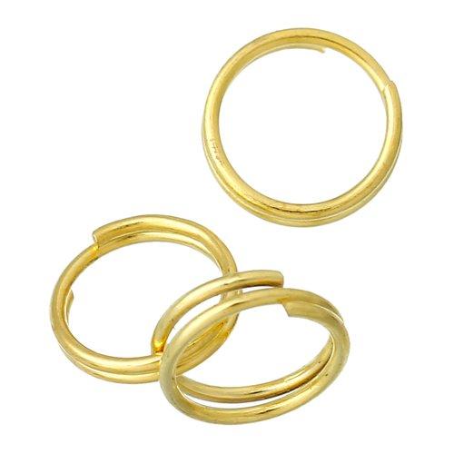 50 anneaux double de jonction 7mm doré, creation bijoux, bracelet, collier