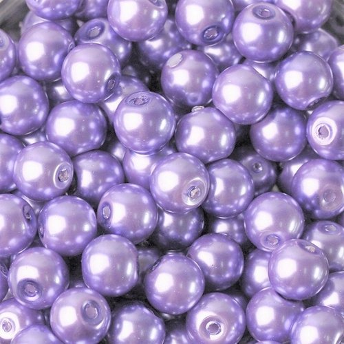 20 perles imitation en verre 8mm couleur violet clair creation bijoux, bracelet, ...