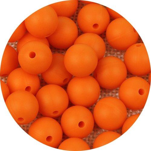 10 perle 12mm silicone couleur orange, creation bijoux, attache tetine