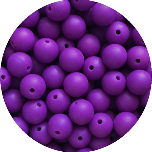 10 perle 12mm silicone couleur violet foncé, creation bijoux, attache tetine