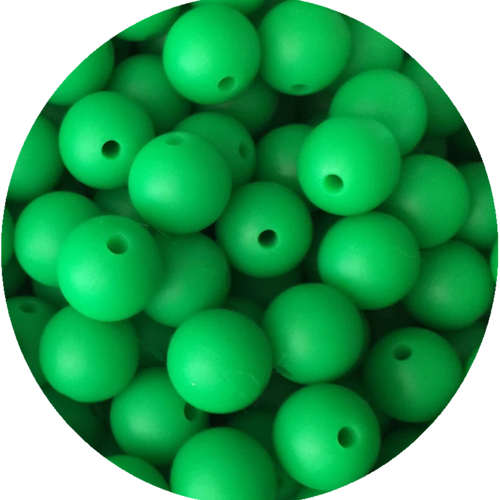 5 perles silicone 15mm couleur vert herbe, creation attache tetine