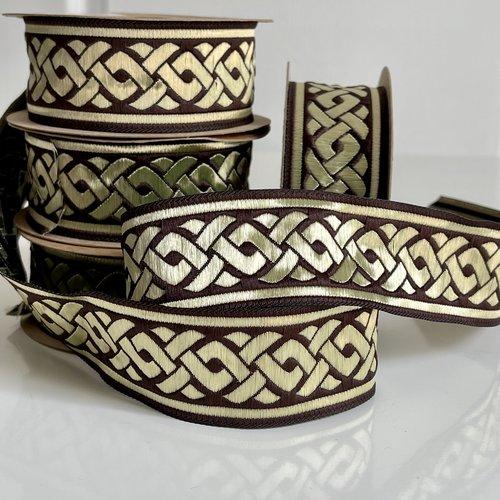 Galon style médiéval,galon brodé jacquard motif celtique,ruban médiéval 35 mm marron et doré,