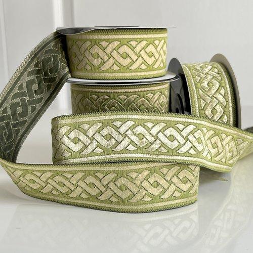 Galon médiéval motif tresse celtique, ruban brodé jacquard 35 mm ,galon motif celtique vert pomme