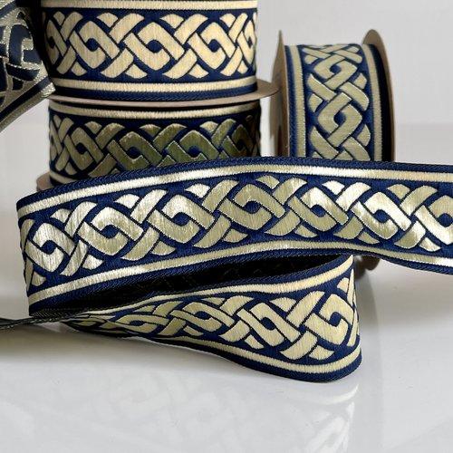 Galon médiéval brodé jacquard,galon brodé jacquard motif tresse celtique,ruban médiéval 35 mm bleu marin et doré