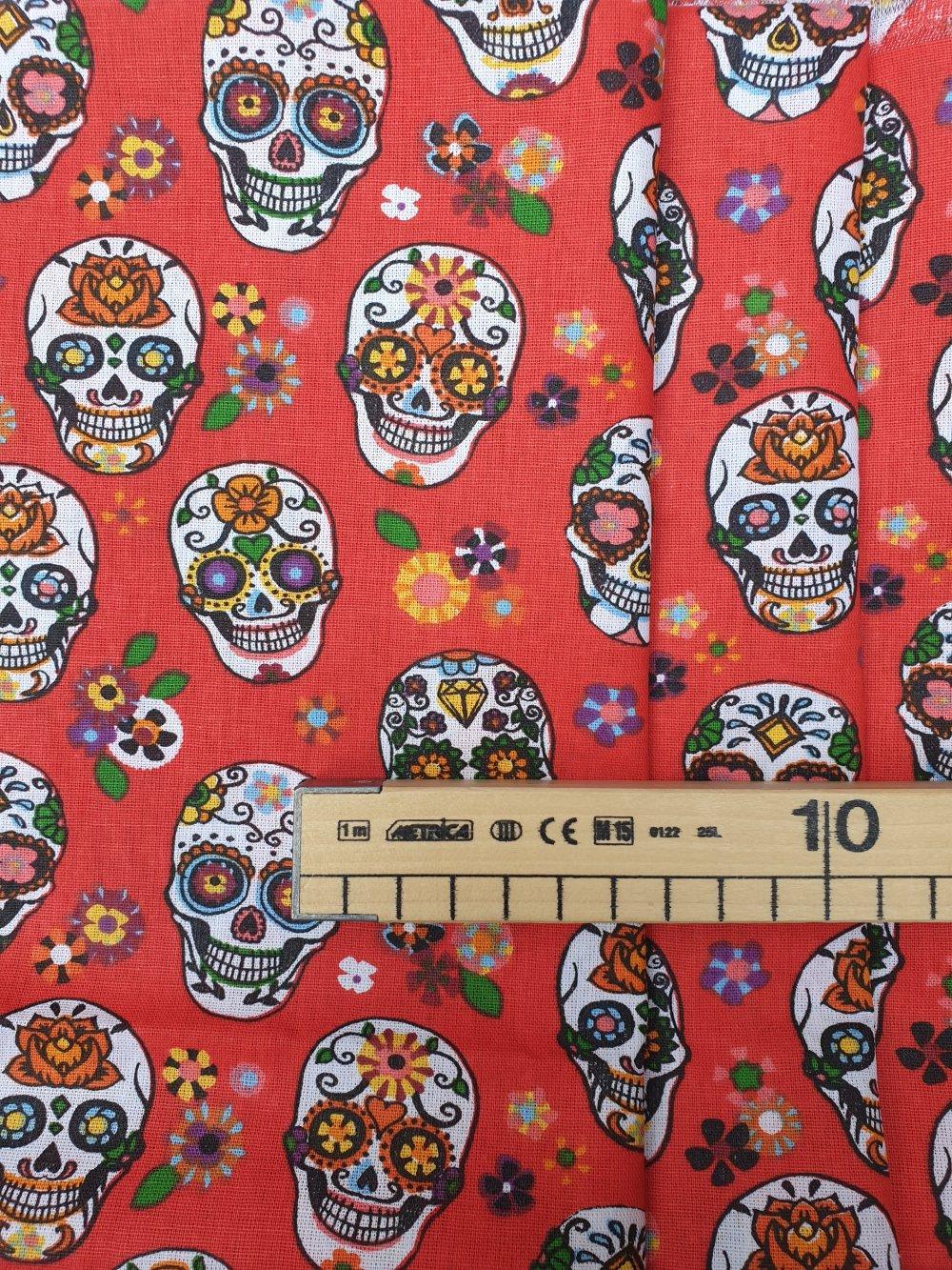 Tissu,coupon de tissu 50/75 cm, 100% coton, skull, tête de mort, crâne, calavera.