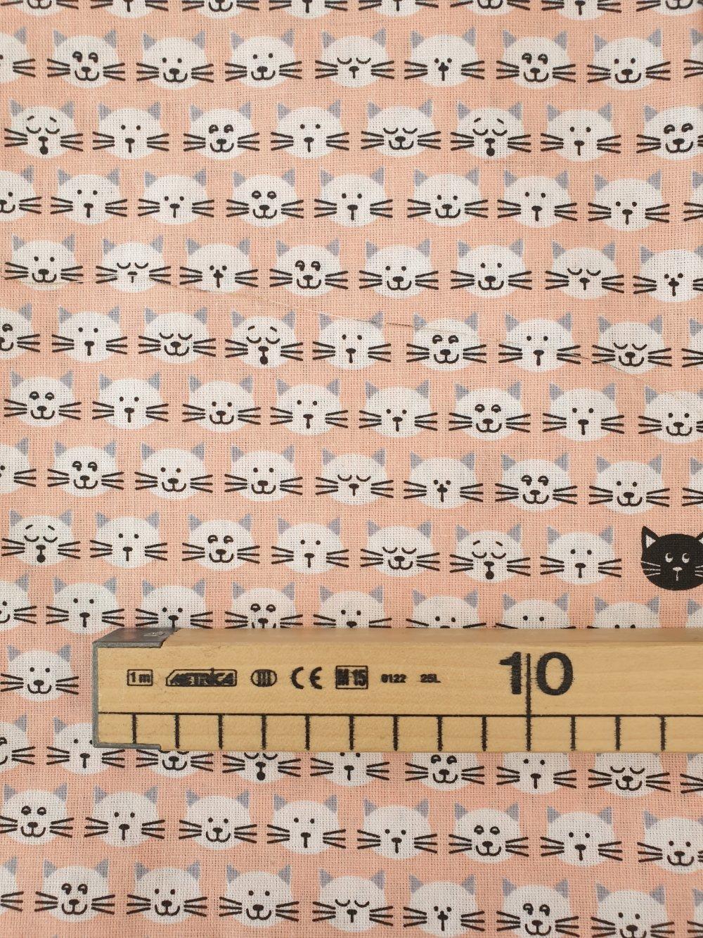 Tissu,coupon de tissu 50/75 cm, 100% coton, mini chats