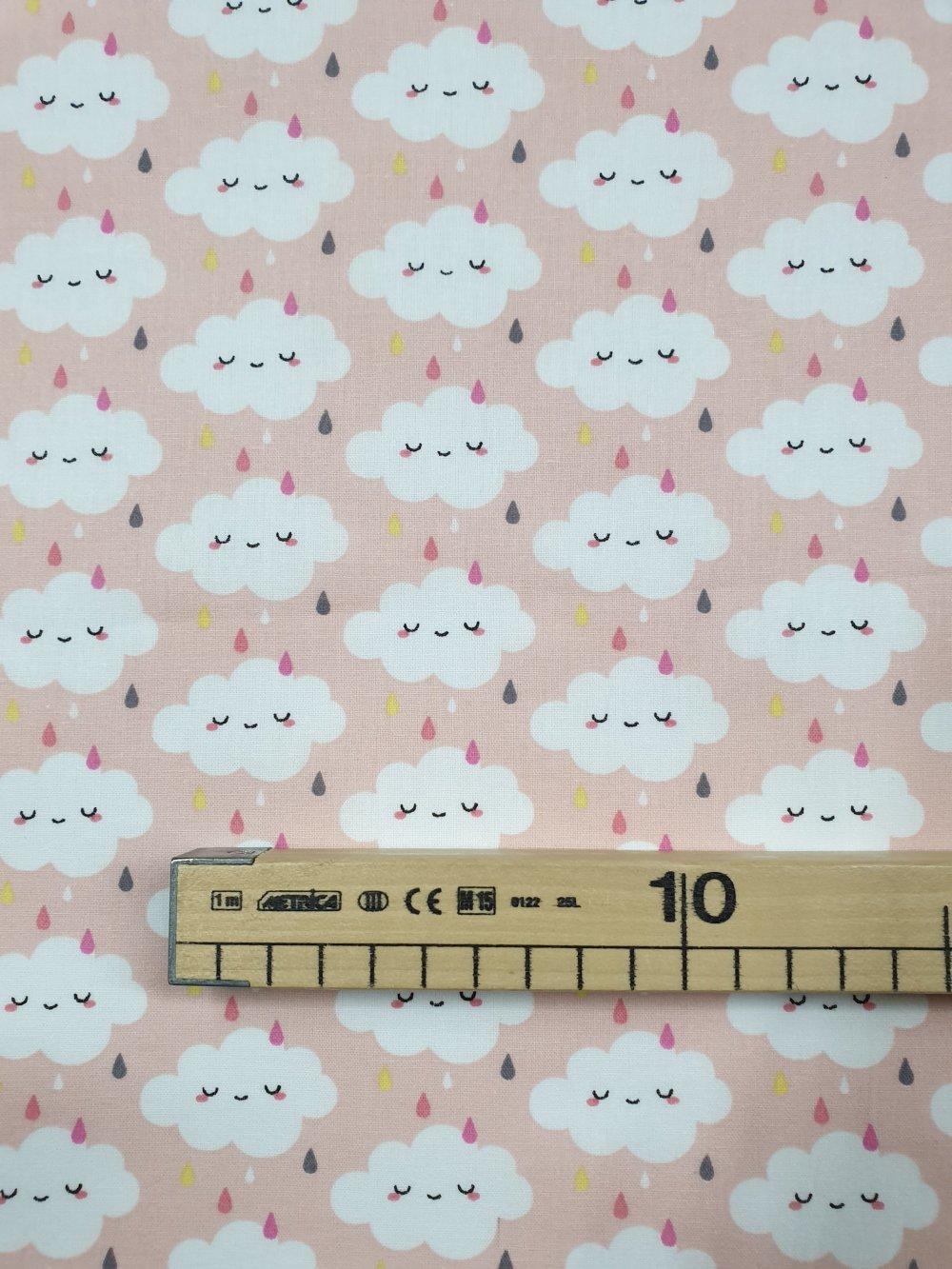 Tissu, coupon de tissu 50/75 cm, 100% coton nuages rose