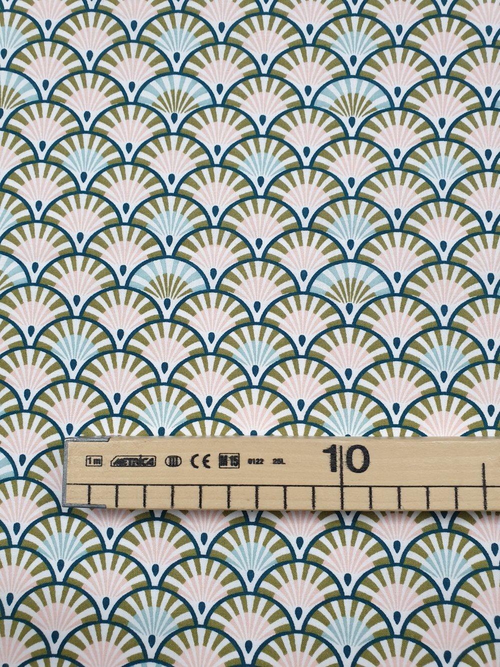 Tissu,coupon de tissu 50/75 cm, 100% coton éventails  rose vert