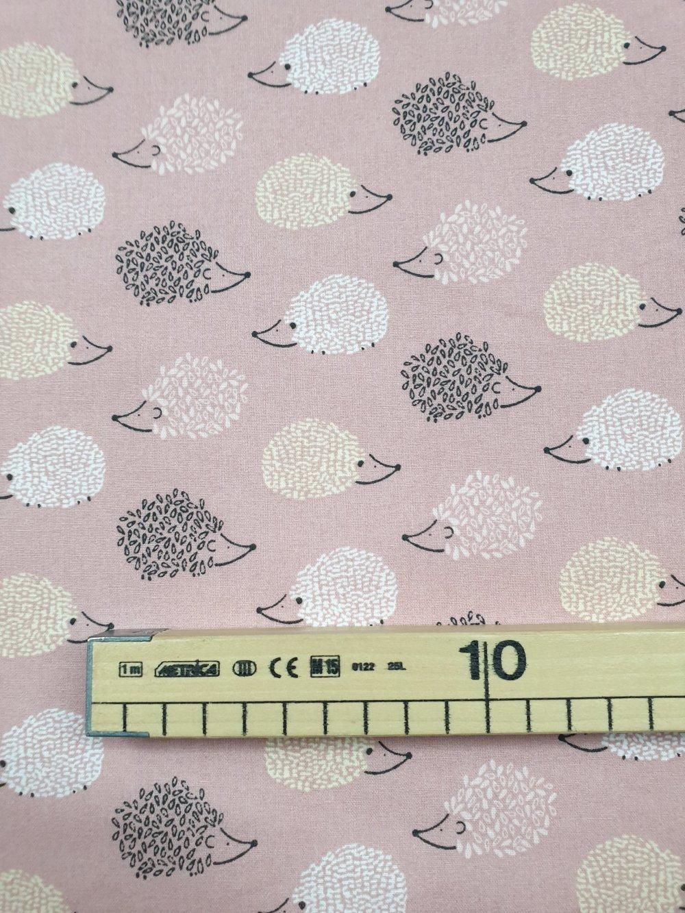 Tissu,coupon de tissu 50/75 cm, 100% coton coupon hérisson rose