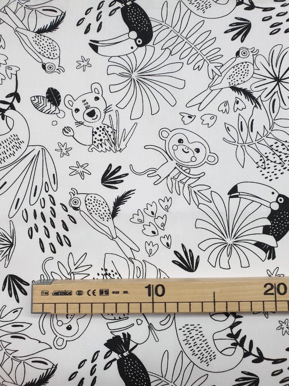 Tissu, coupon de tissu 50/75 cm, 100% coton coupon à colorié animaux