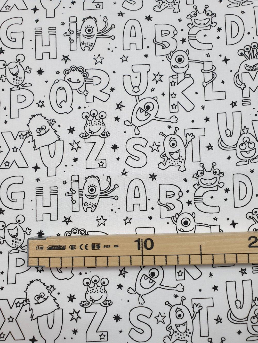 Tissu, coupon de tissu 50/75 cm, 100% coton coupon à colorié alphabet