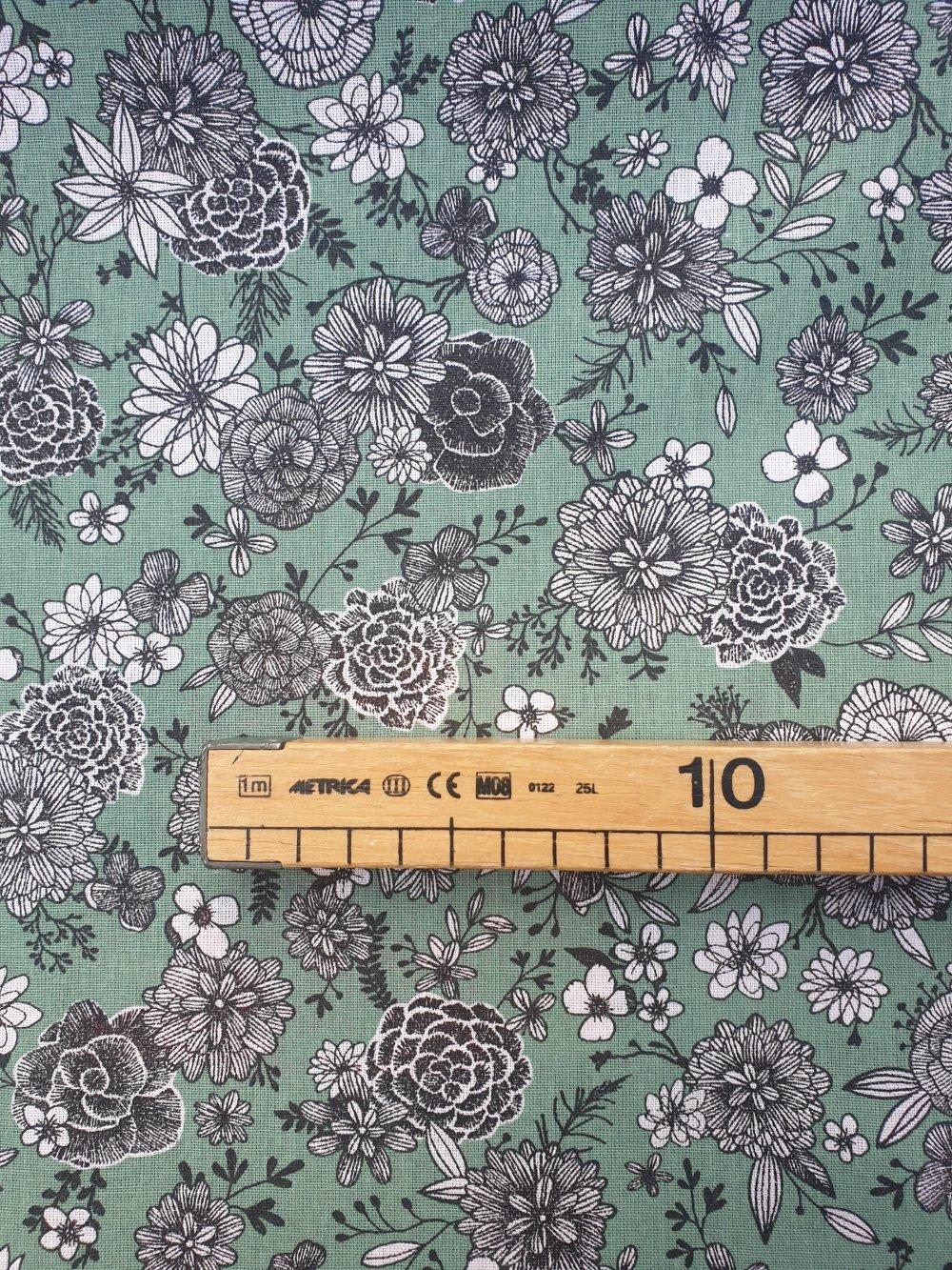 Tissu,coupon de tissu 50/75 cm, 100% coton, fleurs, floral, vert