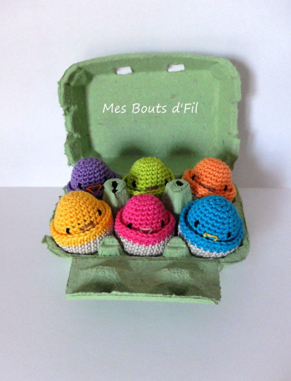 Sur commande-  6 poussins au crochet/ jeu de couleurs/ Pâques