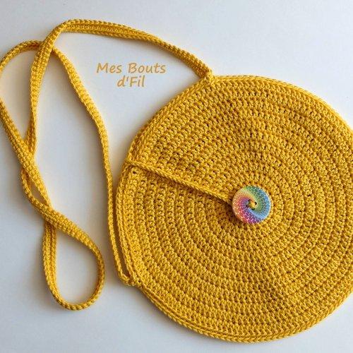 Sur commande - sac rond bandoulière au crochet, jaune