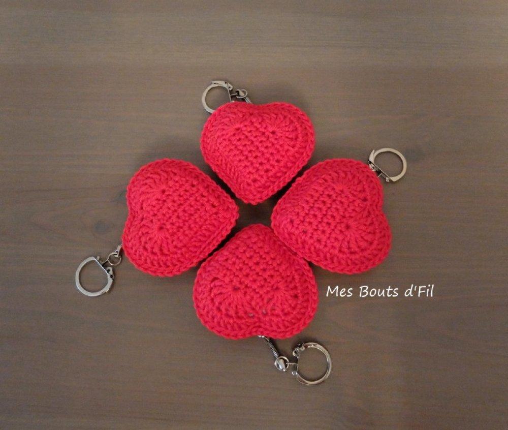 Porte-clés coeur au crochet