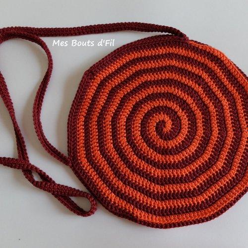 Sac rond spirale, en bandoulière au crochet