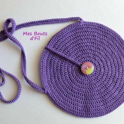 Sac rond bandoulière au crochet, violet