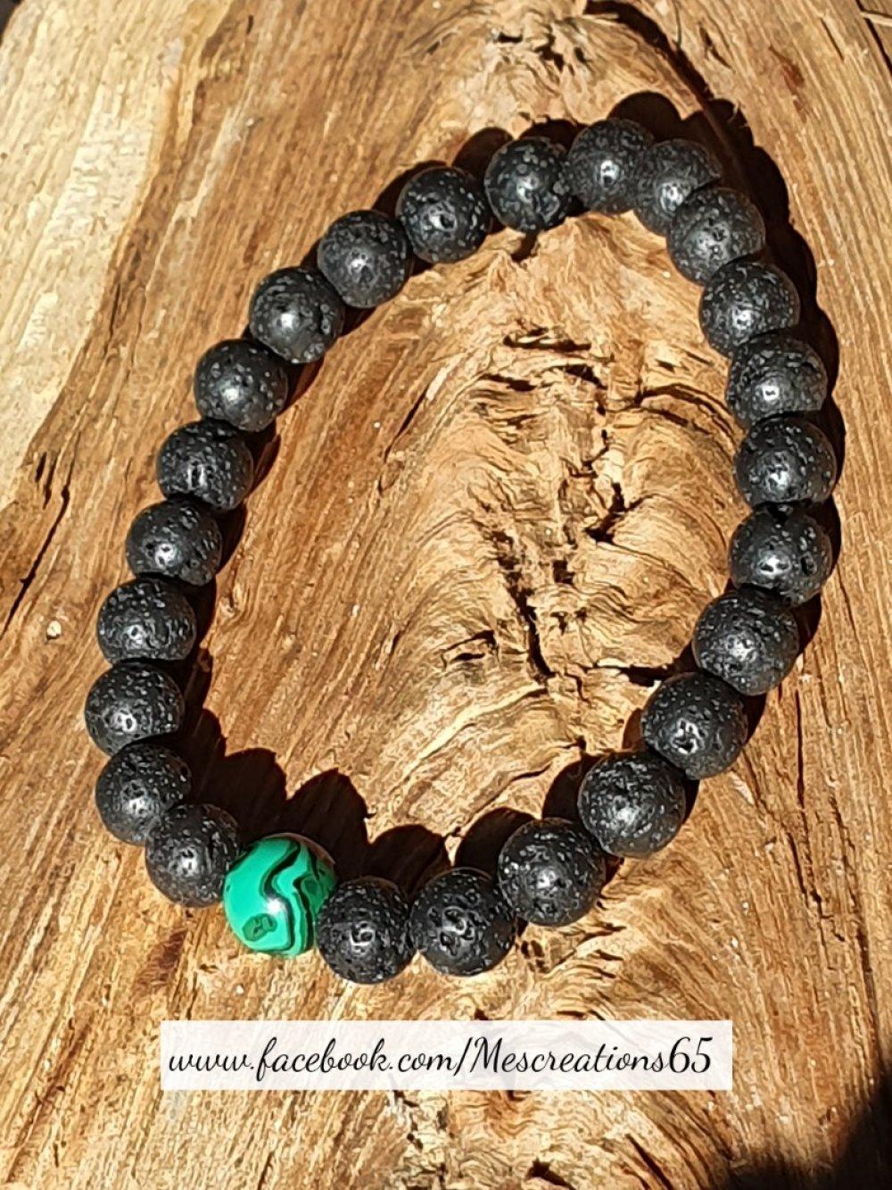 Bracelet de perles de laves volcaniques et malachite