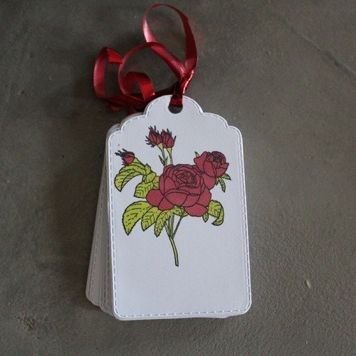 N/p 1019 - lot de 10 étiquettes rose pour saint valentin, mariage, anniversaire