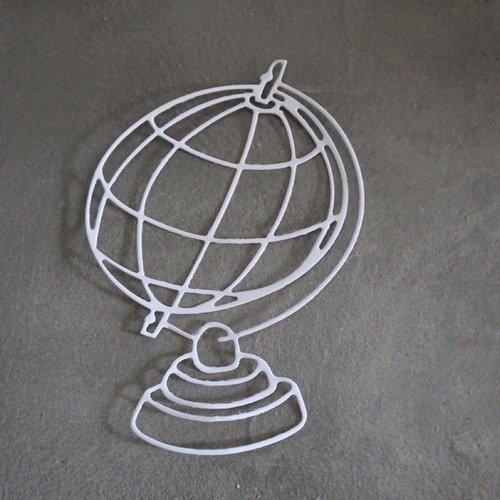 1024 - découpe papier globe coloris blanc