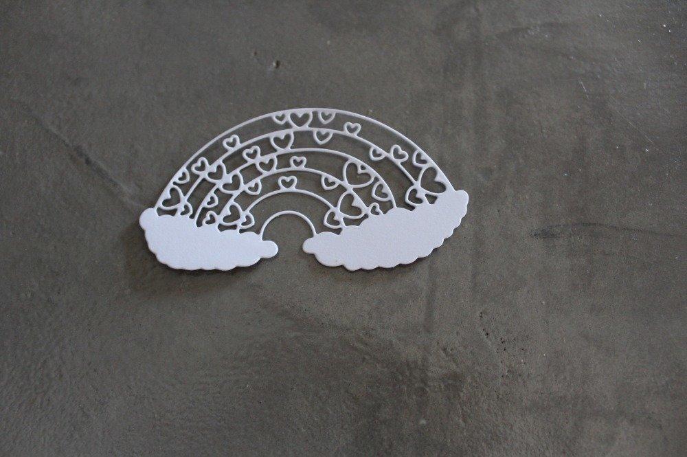 1406 - Découpe papier nuage arc en ciel coeur - coloris blanc