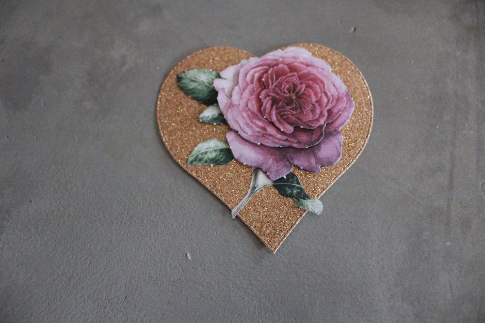 252 -Mariage/Amour- Embellissement cœur avec rose pour scrapbooking, carterie