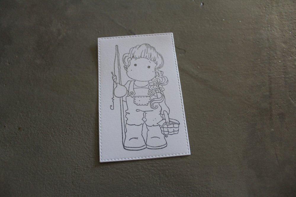 NP/ 970 : Découpe papier tamponnage personnage fille thème pêche/printemps/été pour scrapbooking