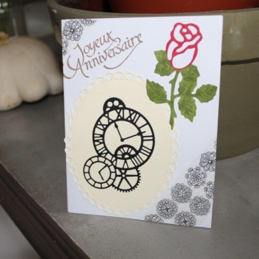 N/P 361 - Découpe papier rose en bouton coloris blanc - embellissement pour scrapbooking
