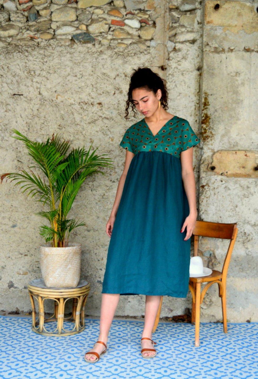 Robe Yoko Robe Longue En Lin Et Microfibre D Inspiration Japonaise Et Touche Wax Un Grand Marche