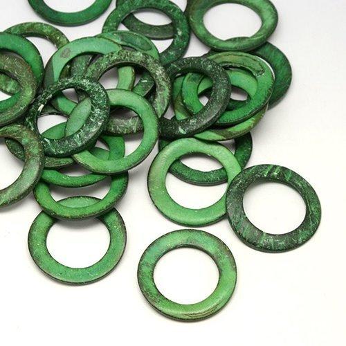 "X10 anneaux bois coco ""vert"" 23mm"