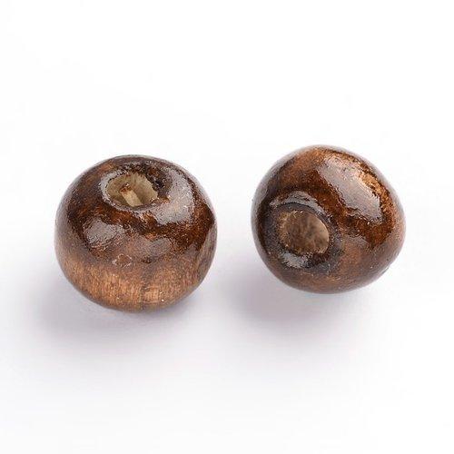 X 50 perles en bois café ronde 9x7mm