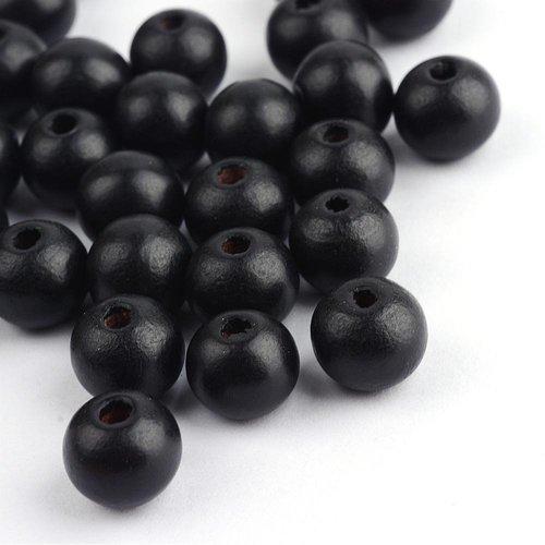 X 50 perles en bois ronde noire 10x9mm
