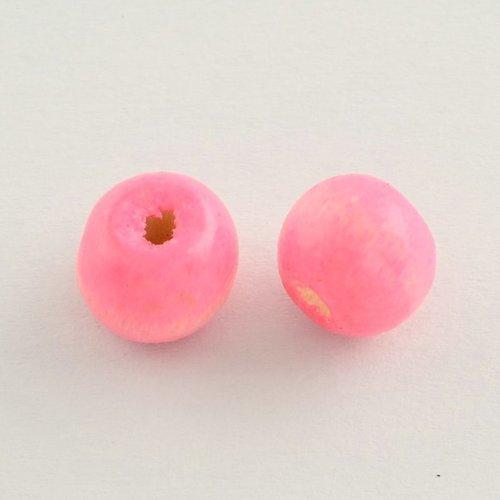 50 perles en bois ronde rose 10mm