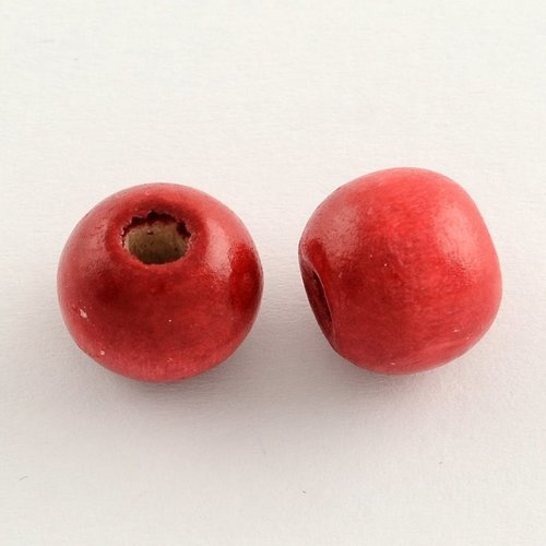 X50 perles en bois ronde rouge 10x9mm