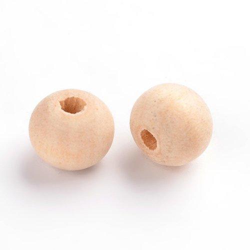X50 perle en bois ronde creme 8mm