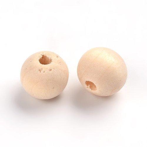 X50 perles en bois ronde creme 10mm