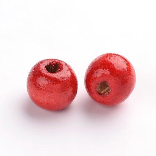 X50 perles en bois ronde rouge 8mm