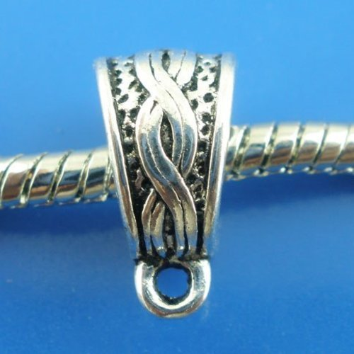 X10 bélières métal argenté 14x7mm